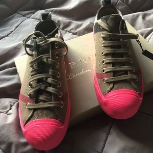 Burberry neon pink soled sneakers !!PRICE FIRM!!